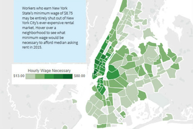 New Yorkers working 40 hours a week need to earn an hourly wage more than four times the state's current minimum wage to afford the city's forecasted median rent for 2015.