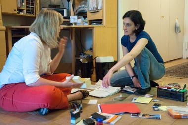 Maeve Richmond, of Maeve's Method, helps Nicole, a public speaking coach who lives on the Upper East Side, get her desk area organized before fall.