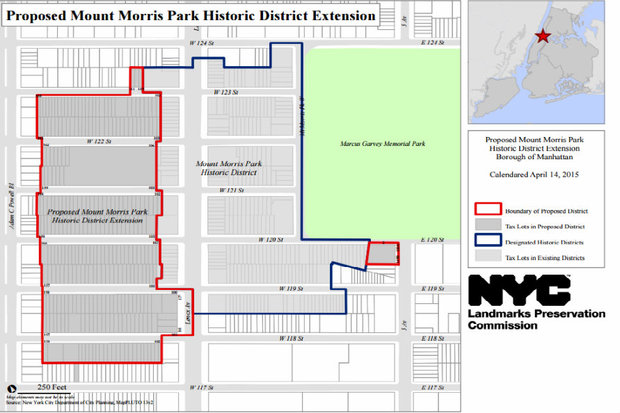 More than 250 row houses and approximately 12 apartment buildings will be included in the Mount Morris Park Historic District in Harlem in a unanimous decision by the New York City Landmarks Preservation Commission.