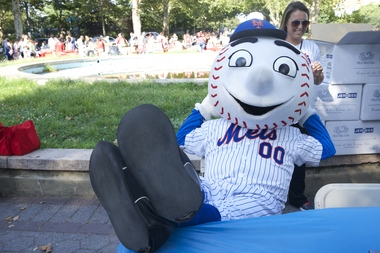 The baseball-headed mascot was captured making the obscene gesture in a short video posted to Twitter.