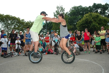 The Unicycle Festival features of variety of games, and chances to learn how to maneuver the mono-wheel.