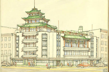 Poy Gum Lee, On Leong Tong, 83-85 Mott Street. Presentation Drawing., 1948, Ink and watercolor on paper, Courtesy of the Poy Gum Lee Archive.