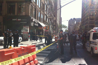 30th Street between Sixth and Seventh avenues was closed Wednesday afternoon due to a grenade scare, police said.