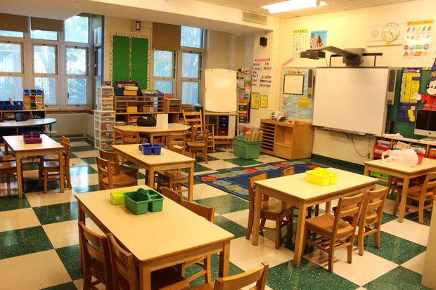 An empty classroom at a Queens elementary school.
