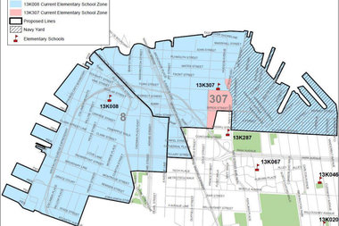 The proposed new zone lines for P.S. 8 and P.S. 307.