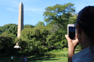 Ann Sublett of the Central Park Conservancy talks about the park's Obelisk on Wednesday morning.