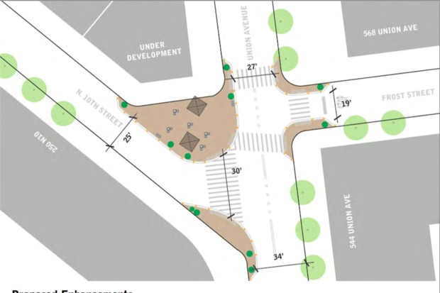 The Department of Transportation has a plan for a pedestrian plaza at Union Avenue and North 10th St.