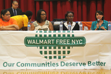 East New York residents and retail workers joined a panel for Walmart-Free NYC Wednesday night to discuss the need for