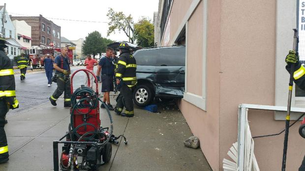 The minivan crashed into a Woodside hyperbaric chamber therapy center, staffers said.