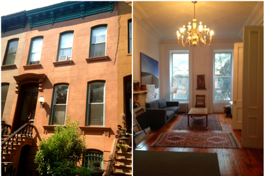 This two-family brownstone, which is 20 feet wide on a 100-foot lot, has an owner's duplex over garden rental on brownstone block in Clinton Hill. It's an off-market listing that's available for $2.2 million through HomeCanvasr.