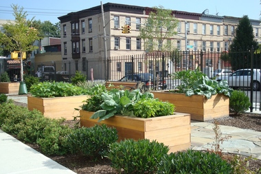 A garden at an affordable housing building at 119 Fountain Ave. in East New York is more popular than the parking, its developer said. Under the city's new zoning plans, developers believe it will be easier to create additional affordable units or common space like gardens.