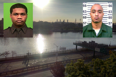 Police Officer Randolph Howard was killed in an East Harlem shootout Tuesday night. Police identified the suspect as Tyrone Howard (right).