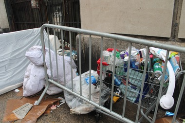 The bottles and cans were collected by a homeless man who plans to cash them in.