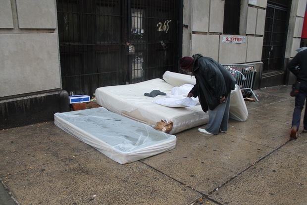 City officials say they already fulfill the requirements of an executive order from Gov. Andrew Cuomo requiring all homeless people to be moved indoors once the temperature dips below freezing but cannot forcibly make all homeless people go to shelters during inclement weather. Here, a homeless encampment at West 96th Street in Manhattan.