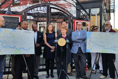 State Assemblywoman Jo Anne Simon and other elected officials joined neighborhood groups to rally in support of restoring the B71 bus, which was cut in 2010.
