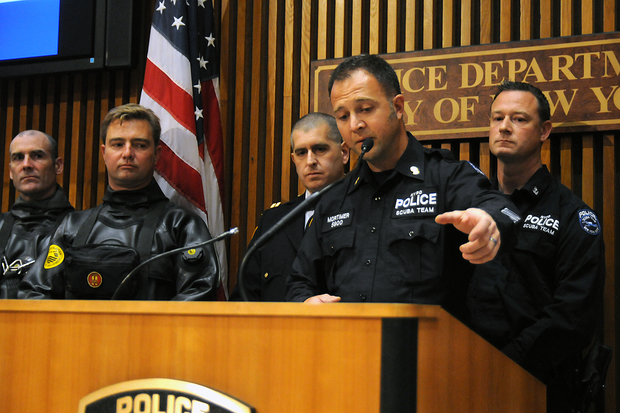 NYPD scuba diver, Detective John Mortimer, spoke about finding the gun police believe was used to kill Randolph Holder. Mortimer spoke during a press conference at One Police Plaza Monday afternoon, Oct. 26, 2015.
