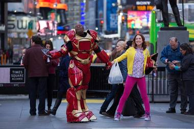 Kimmy Schmidt's signature pink pants fit right in Greenpoint, actress Ellie Kemper said.