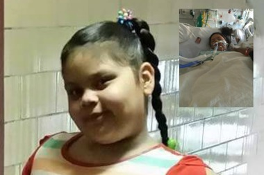 7-year old Noelia Echavarria before and after hospitalization.