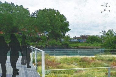 A rendering of the Gowanus Canal Sponge Park, which was first proposed in 2008. Construction started this week on the park, which will sit at the end of Second Street overlooking the Gowanus Canal.