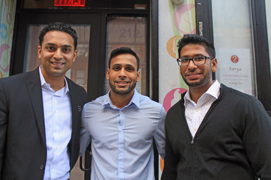 From left to right: Sandeep Singh and his cousins, Abim and Abishek Sharma, are opening Surya at 154 Bleecker St.