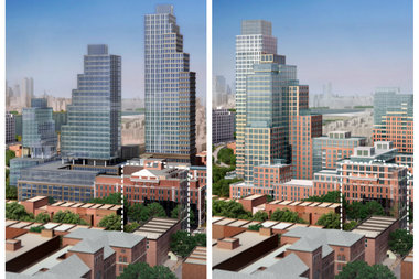 A collage showing a comparison of the two latest renderings for the Long Island College Hospital site. On the left is the as-of-right plan. On the right is the proposed buildings if the site was rezoned.