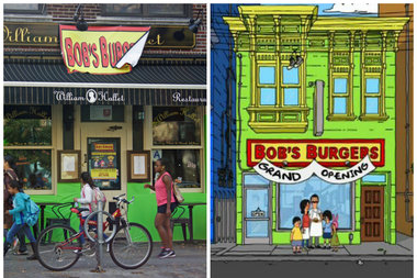 the exterior of william hallets for halloween decorated to look like the famous cartoon burger