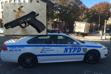 NYPD officials said a suspect pulled this Daisy Powerline 415 BB gun on a trio of plainclothes detectives during an attempted robbery at Monroe Street and Bedford Avenue at 6:40 p.m. Sunday.