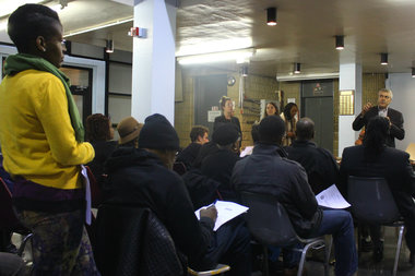 Winston Von Engel, Director for Department of City Planning's Brooklyn Borough Office, answered questions on the East New York rezoning at Community Board 16's meeting Tuesday night.
