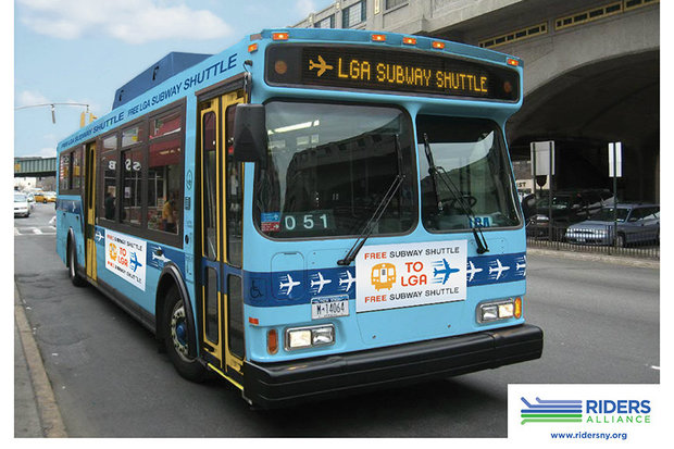 This is a riders group's mockup of the free Q70, rebranded as a shuttle bus to LaGuardia from Queens subway stations.