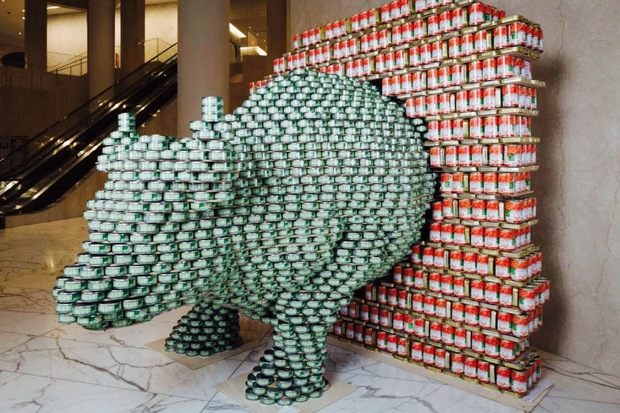The Charging Bull, created by Thornton Tomasetti design firm, is on display at Canstruction