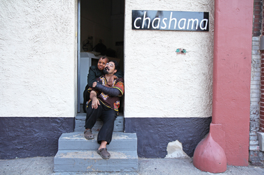 Visual artists Alaethia Brown, 51, and Christopher Trujillo, 46, at the door of the artists residency. The pair are part of the Chashama artists residency, which was forced to leave the building on 461W 126 St, in Harlem, where a commercial complex is being built.