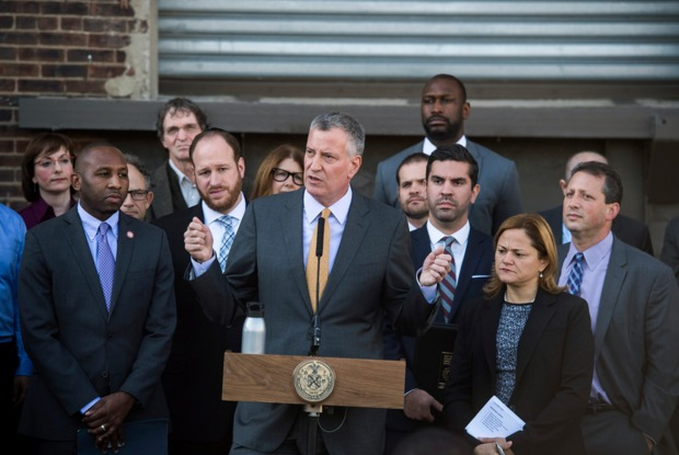 Mayor Bill de Blasio announced that the city will limit the ability of hotels, storage facilities and residential buildings to take root in Industrial Business Zones as part of a $115 million effort to protect the job-producing areas from further encroachment.
