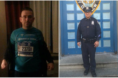 Gianclaudio Marengo, left, was found on the 2 train by Officer Man Yam, right, aboard the 2 train, police said.