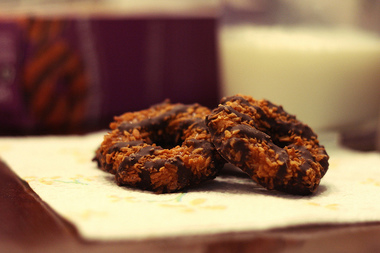 Among the Girl Scout cookies available Tuesday are the caramel and toasted coconut-covered cookies called Samoas.