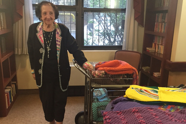 Gloria Bloom is using her knitting skills to bring holiday cheer and warmth to Isabella residents.