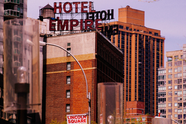 The bright Hotel Empire sign at W 63rd Street  is another example of iconic typography along Broadway.