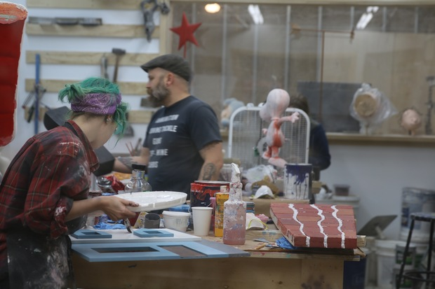 A Red Hook workshop creates holiday window displays for Macy's.