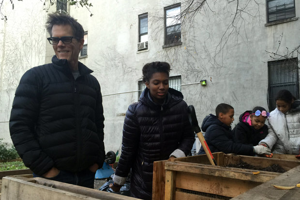 The movie star went to their community garden on 134th Street to support Harlem Grown organization.