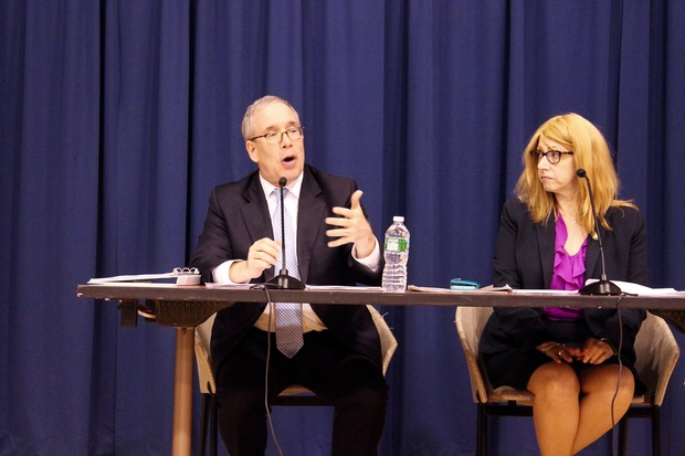 City Comptroller Scott Stringer and Assemblywoman Linda Rosenthal held a town hall on the Upper West Side Monday night to hear from constituents.