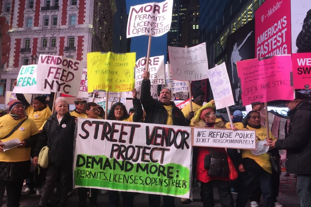 Street vendors from across the city marched on Times Square on Wednesday protesting the city's long-standing caps on the amount of permits it gives to street vendors.