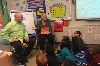 Children's author Jon Scieszka and Schools Chancellor Carmen Fariña read a book to second graders at Park Slope's P.S. 133.