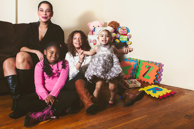 Lisa, Juliette, Jennifer and Isabella Ferreira (L-R) hope that Project Renewal's campaign helps their family afford warm clothes for the winter.