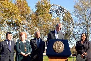 The mayor announced the alliance Monday in front of the historic Unisphere.