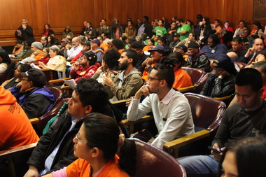 Bronxites packed into the Bronx County Building on Thursday for a hearing about proposed zoning changes in New York City.