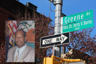 Greene Avenue between Patchen Avenue and Broadway was co-named after the late Rev. Dr. Jerry V. Burns in honor of his contributions to the community.