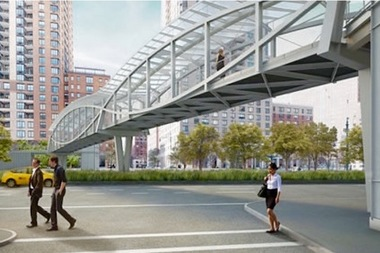 Officials gathered Tuesday to break ground on the West Thames Street bridge, a 230-foot elevated corridor that will rise above busy West Street, connecting the Financial District and Battery Park when it's slated to be completed in 2018.