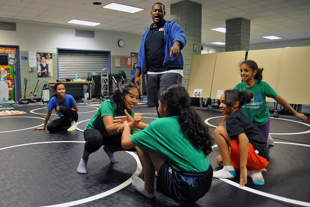 The middle school girls wrestling team is a new program for the Inwood Academy for Leadership.