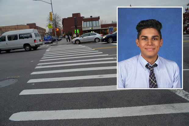 The 17-year-old boy was killed while walking in the crosswalk at Junction and Northern boulevards Tuesday night, police said.