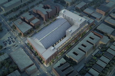 An aerial view of the new armory plan shows the new 13-story rental building to be constructed on the property's east side and the domed drill hall space that will become a recreation center open to the community.