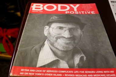 A copy of Body Positive, a magazine about AIDS and HIV featured Myron Gold on its cover. Gold became an activist shortly after he was diagnosed.